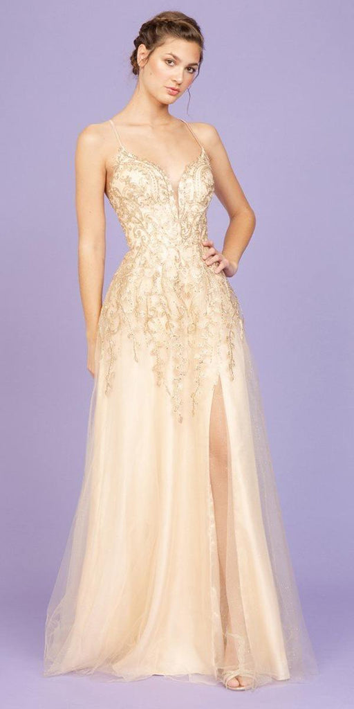 Champagne Long Prom Dress Criss-Cross Back with Slit