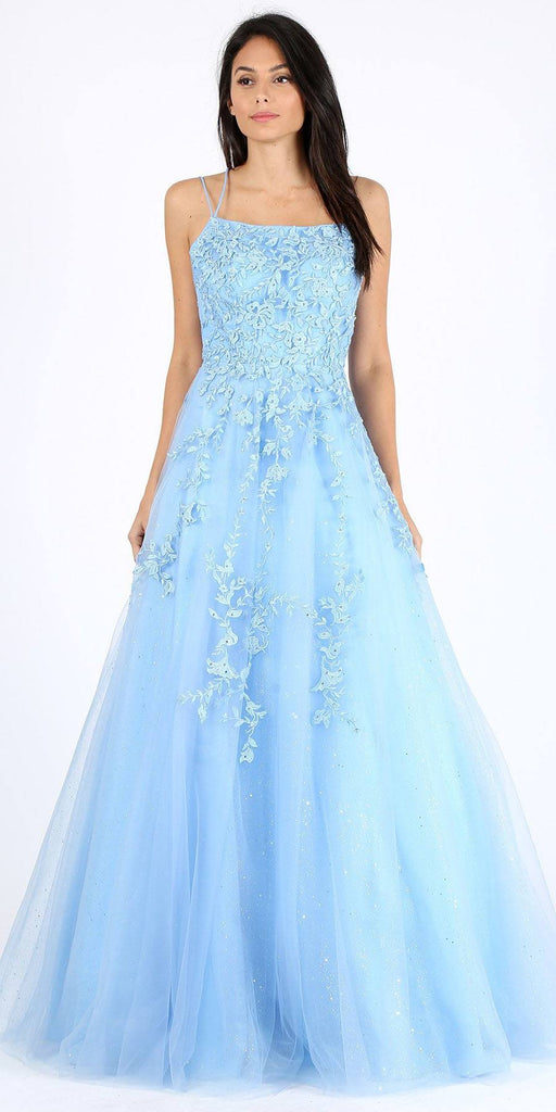 Bahama Blue Long Prom Dress with Lace-Up Back