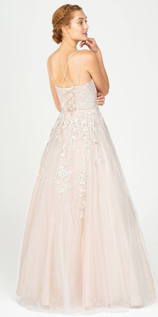 Ivory/Champagne Blue Long Prom Dress with Lace-Up Back
