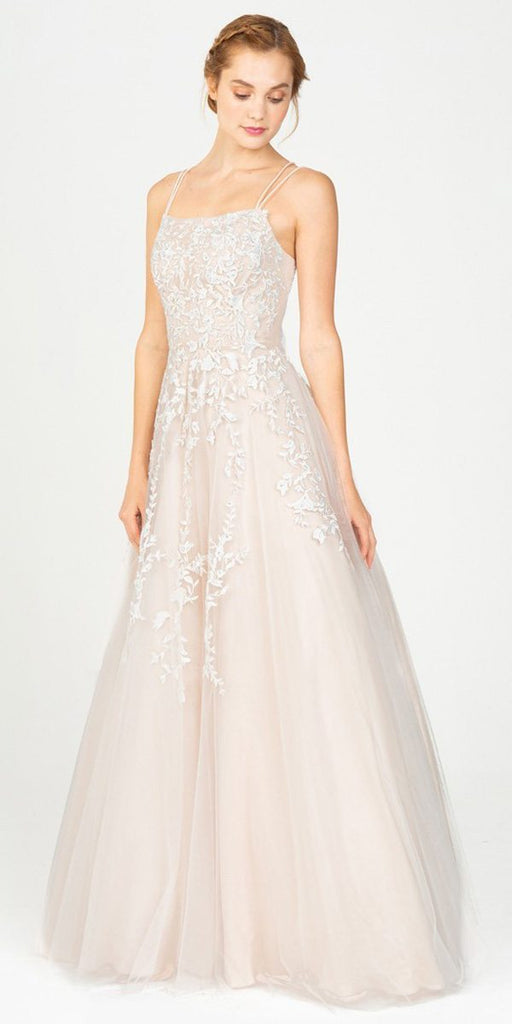 Eureka Fashion 9709 Ivory/Champagne Long Prom Dress with Lace-Up Back