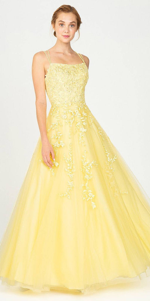 Eureka Fashion 9757 Appliqued Yellow Prom Ball Gown Lace-Up Back