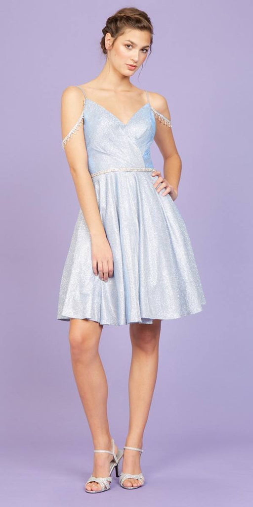 Ice Blue V-Neck Cold-Shoulder Homecoming Short Dress