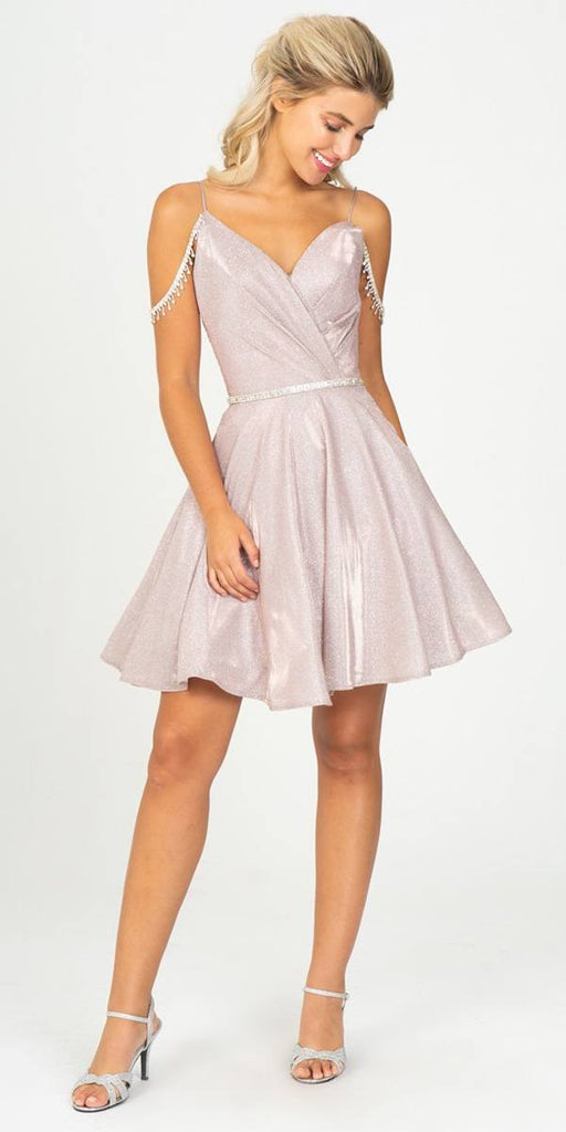 Rose Gold V-Neck Cold-Shoulder Homecoming Short Dress
