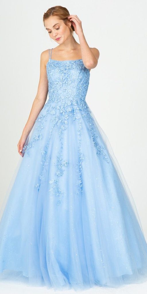 Eureka Fashion 9757 Appliqued Bahama Blue Prom Ball Gown Lace-Up Back