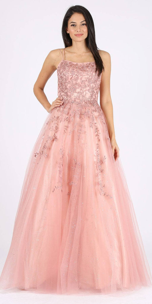 Appliqued Dusty Rose Prom Ball Gown Lace-Up Back