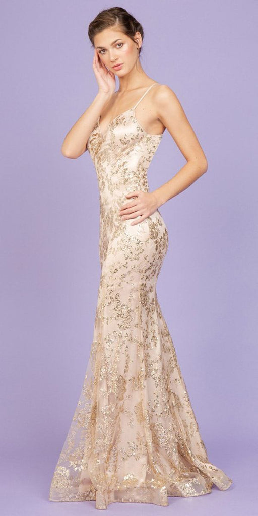 Long Glitter Prom Gown with Spaghetti Straps Rose Gold
