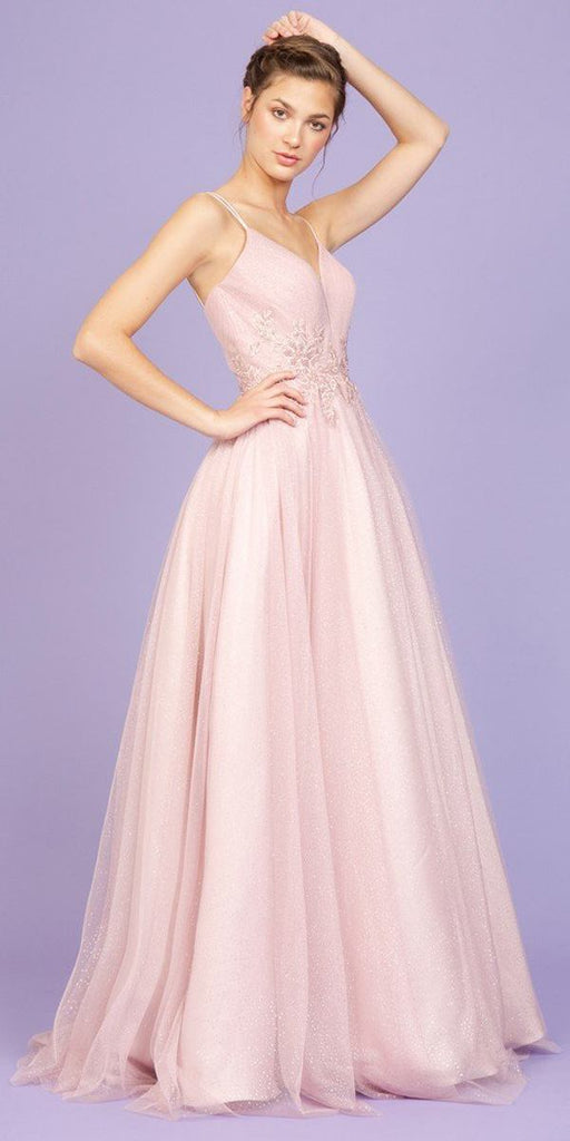 Glitter-Mesh Dusty Rose Long Prom Dress with Appliques
