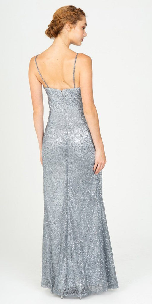 V-Neck Glittery Long Formal Dress Light Charcoal
