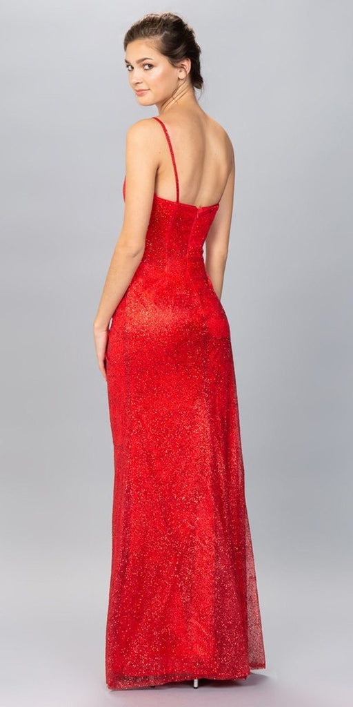 V-Neck Glittery Long Formal Dress Red