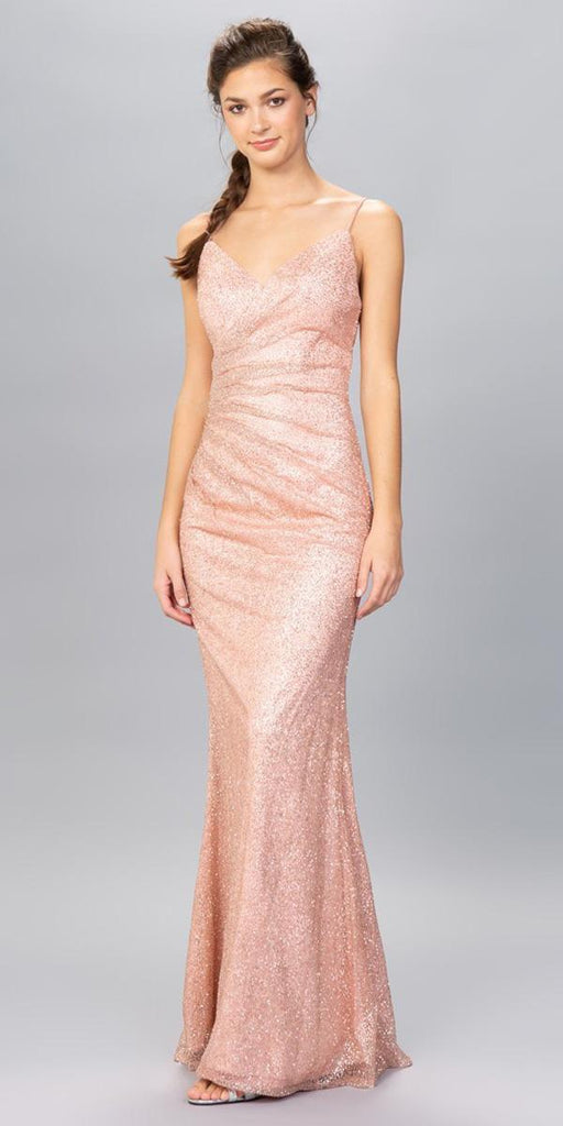 V-Neck Glittery Long Formal Dress Old Rose