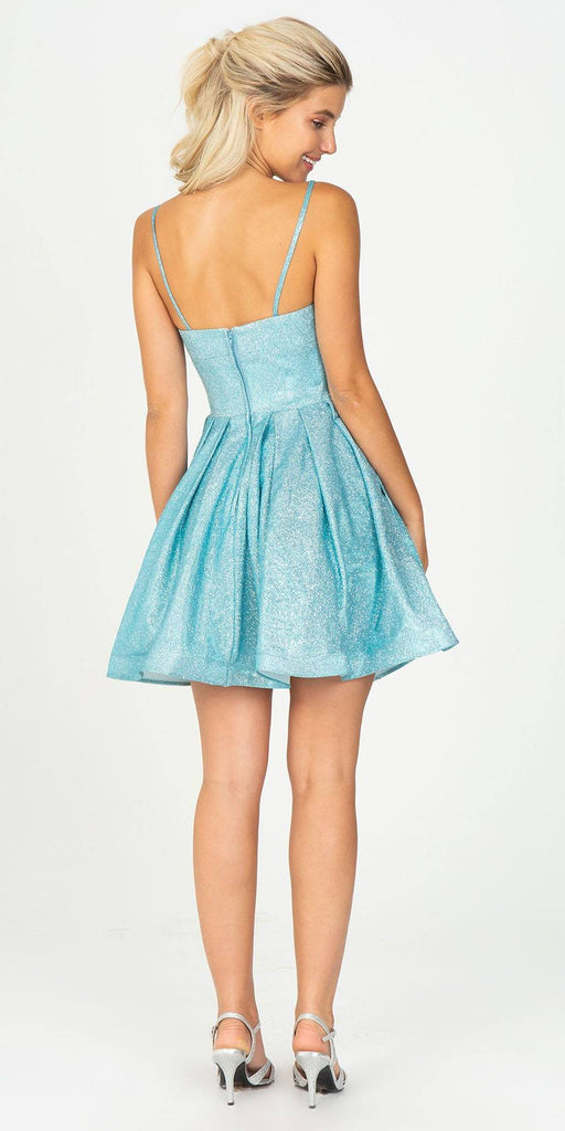 Pleated Short Homecoming Dress with Pockets Ice Blue