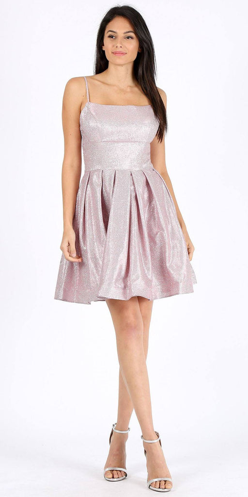 Pleated Short Homecoming Dress with Pockets Lavender