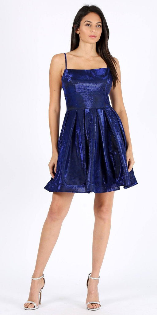 Pleated Short Homecoming Dress with Pockets Royal Blue