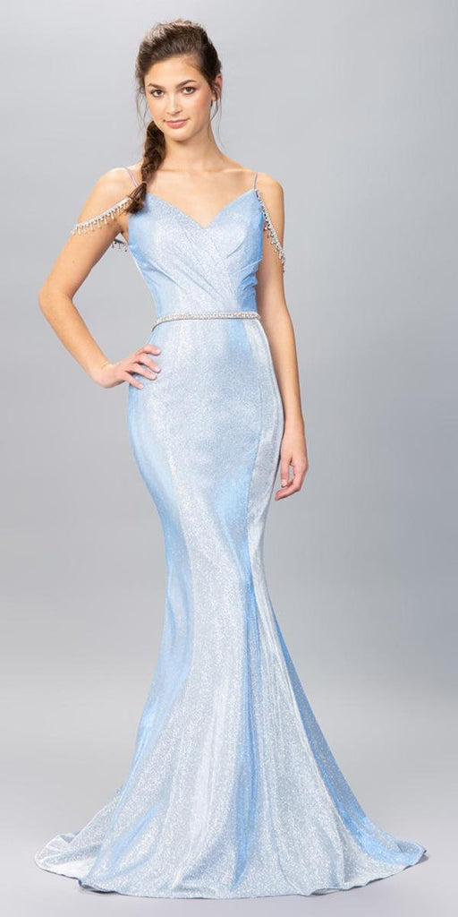 Ice Blue Cold-Shoulder Mermaid Long Prom Dress