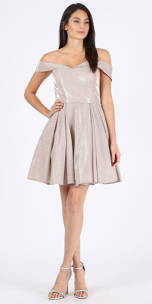 Rose Gold Off-Shoulder Homecoming Short Dress