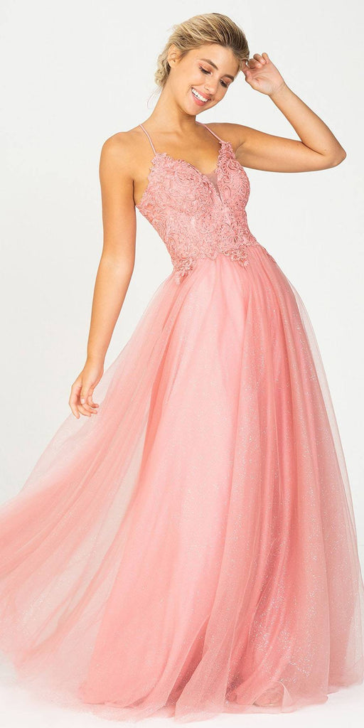 Dusty Rose V-Neck Glitter Long Prom Dress
