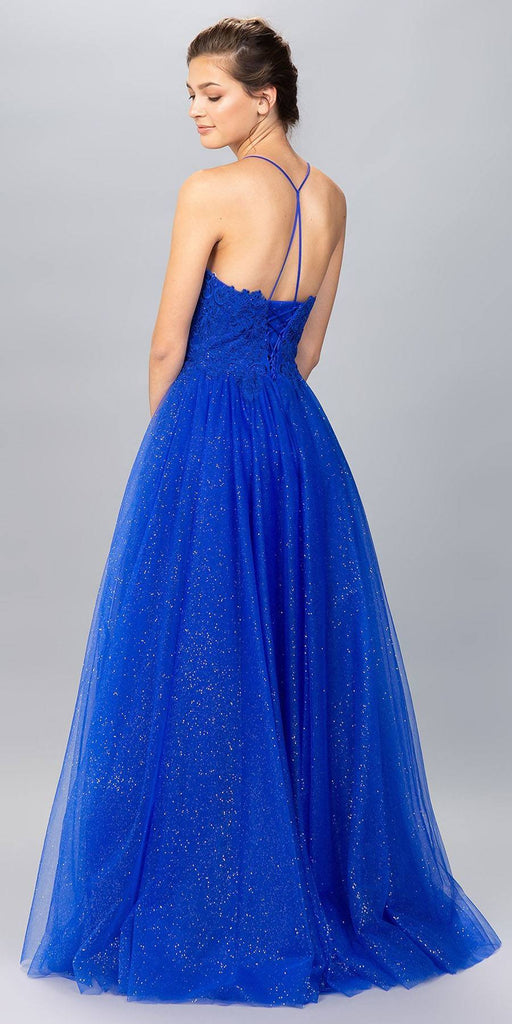 Royal Blue V-Neck Glitter Long Prom Dress