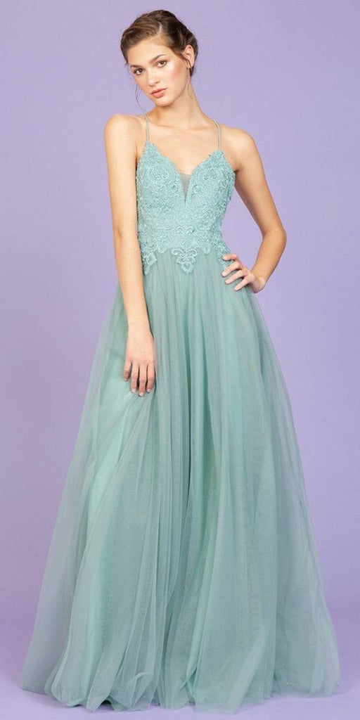 Appliqued Bodice Long Prom Dress Sage Green