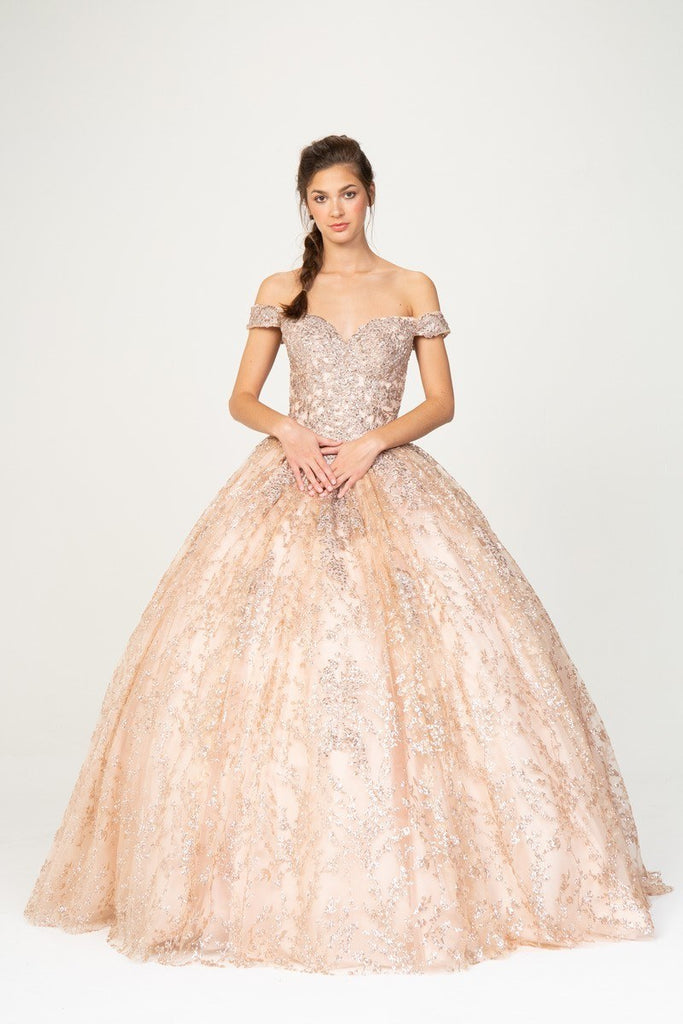 Off-Shoulder Rose Gold Prom Ball Gown Lace-Up Back