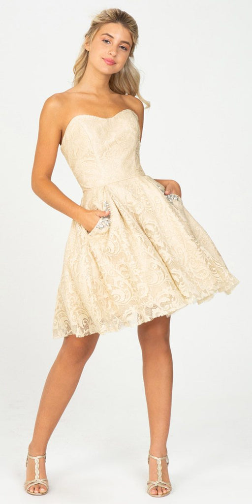Strapless Homecoming Short Dress with Pockets Champagne