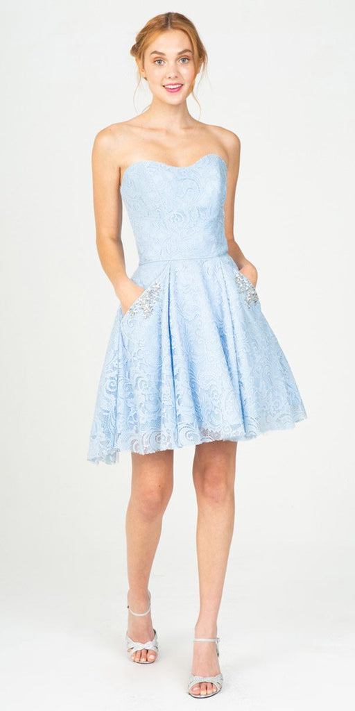 Strapless Homecoming Short Dress with Pockets Blue