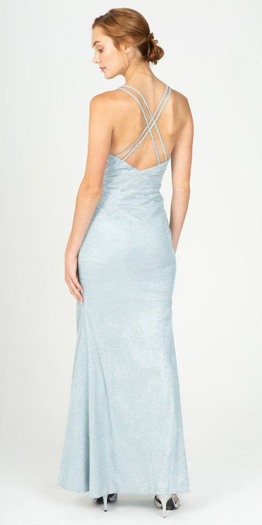 Ice Blue Pleated Long Prom Dress V-Neck with Slit