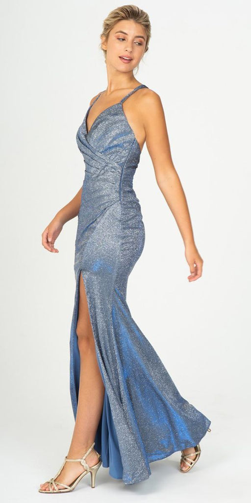 Perry Blue Pleated Long Prom Dress V-Neck with Slit
