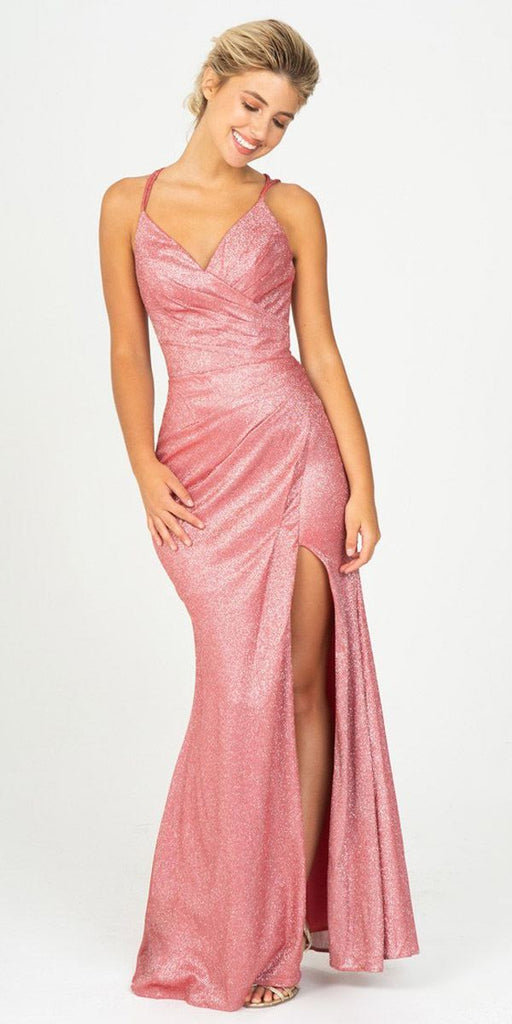 Ruby Red Pleated Long Prom Dress V-Neck with Slit