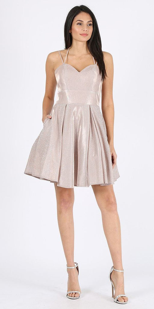 Homecoming Short Dress Rose Gold with Pockets