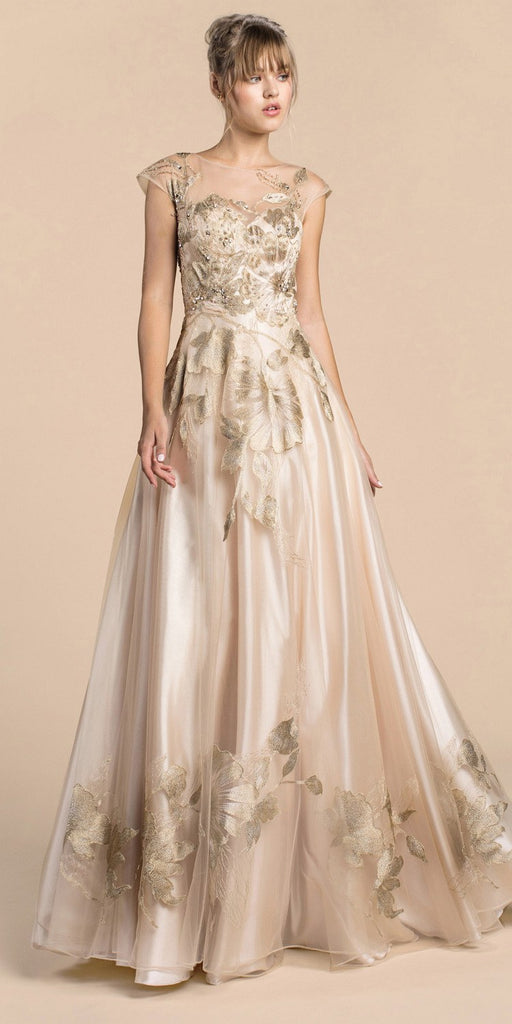 Andrea & Leo A0081 Metallic Floral Lace Gown A-Line Cap Sleeve Champagne
