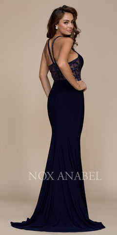 Navy Blue Beaded Illusion Back Long Prom Dress