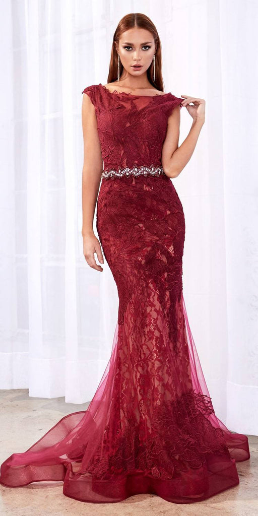 Cinderella Divine A0225 Sheath Burgundy Lace Evening Gown Beaded Belt Lace Cap Sleeves