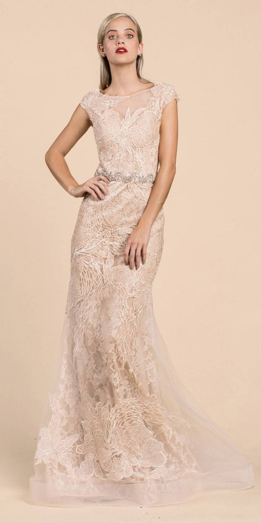Cinderella Divine A0225 Sheath Champagne Lace Evening Gown Beaded Belt Lace Cap Sleeves