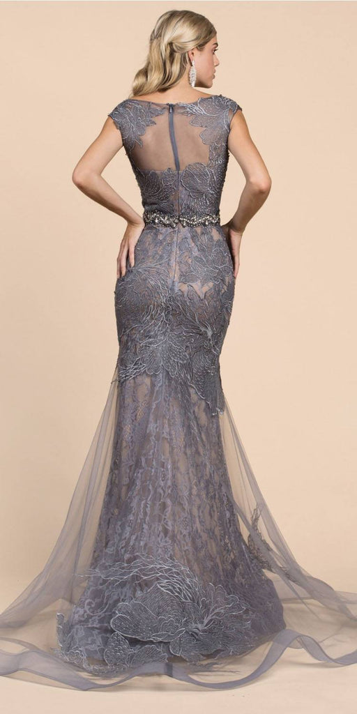 Cinderella Divine A0225 Sheath Gray Lace Evening Gown Beaded Belt Lace Cap Sleeves