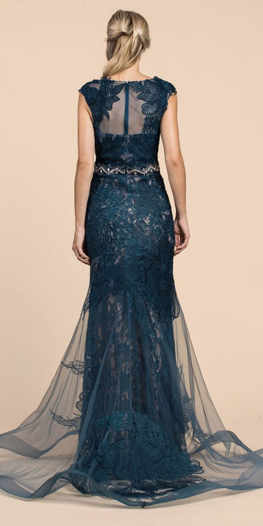 Cinderella Divine A0225 Sheath Teal Lace Evening Gown Beaded Belt Lace Cap Sleeves