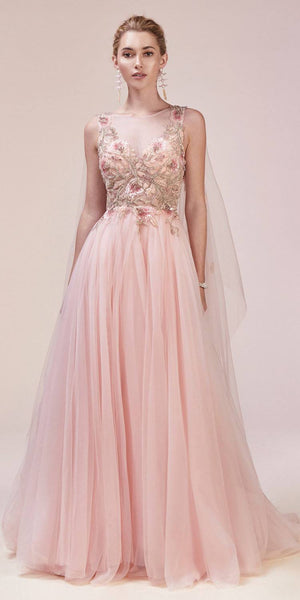 Rose Bead-Applique Bodice Long Formal Dress with Cape