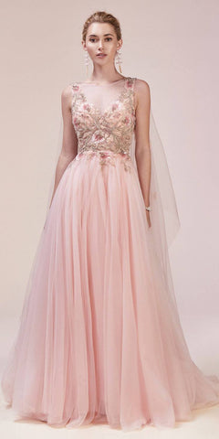 Long Sleeved Illusion Beaded Long Prom Dress Mauve