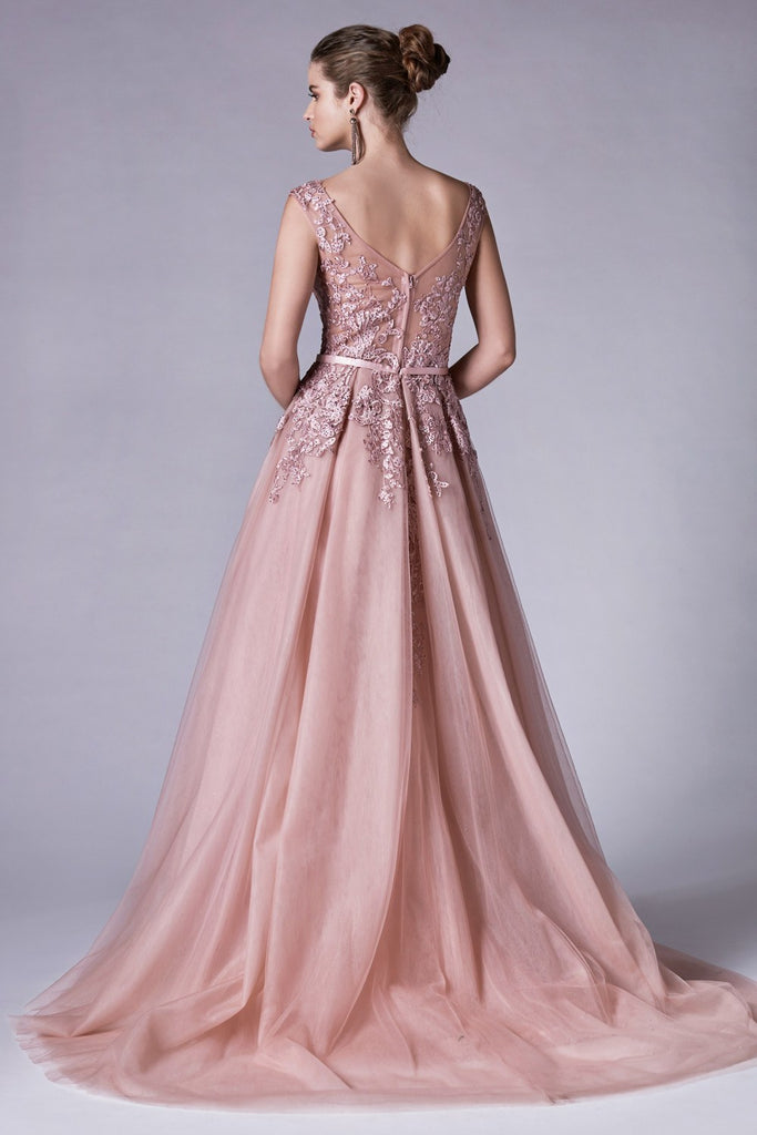 Andrea & Leo A0257 Dress Dusty Rose Rouge Lace Portrait Neckline Sheath Gown With Overskirt