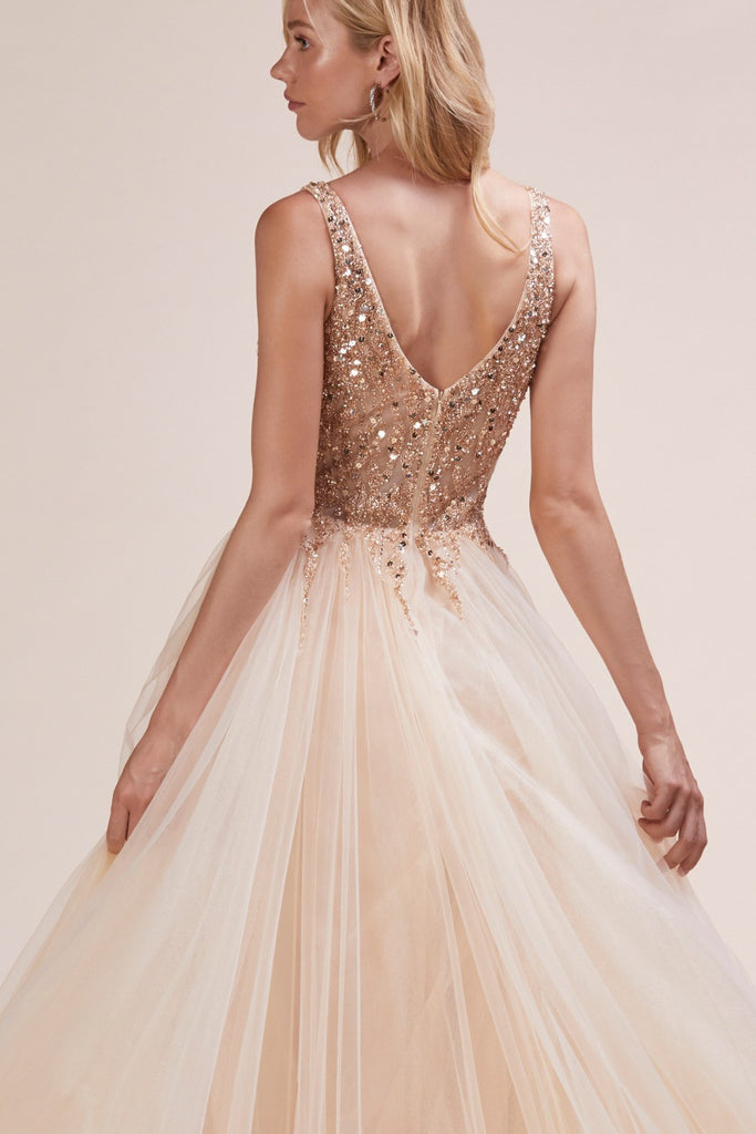 Andrea & Leo A0391 Trickle Bead Gold Soft Ball Gown With Leg Slit