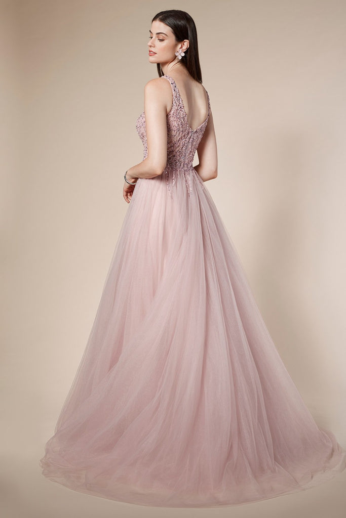 Andrea & Leo A0391 Trickle Bead Mauve Soft Ball Gown With Leg Slit