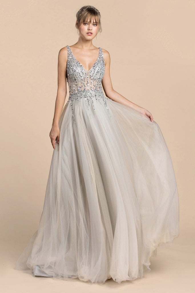 Andrea & Leo A0391 Trickle Bead Silver Soft Ball Gown With Leg Slit