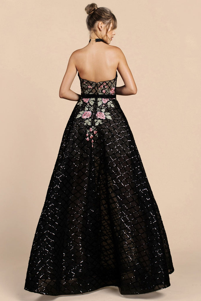 Andrea & Leo A0393 Dress Floral Lattice Sequin Black Ball Gown