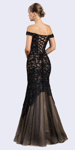 Off-Shoulder Mermaid Style Long Prom Dress Black/Nude