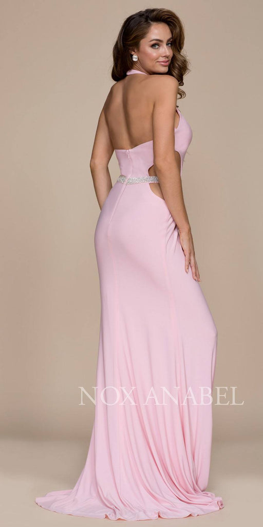 Blush Halter Belted Prom Gown with Cut Out