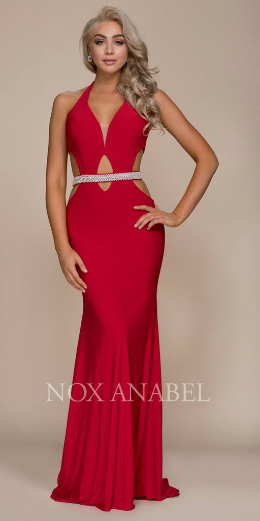 Red Halter Belted Prom Gown with Cut Out