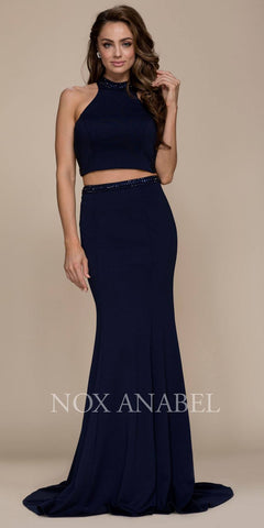Two Piece Mermaid Prom Gown Strappy Back Navy Blue