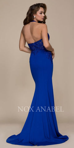 Royal Blue Halter Appliqued Bodice Long Prom Dress