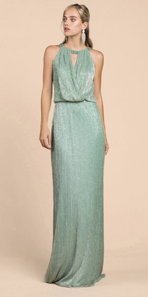 Andrea & Leo A0500 Grecian Metallic Sage Green Sheath Dress Long
