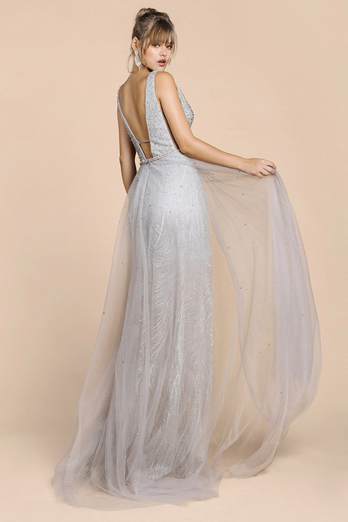 Andrea & Leo A0518 Silver Beaded Droplet Lace/Tulle A-Line Gown