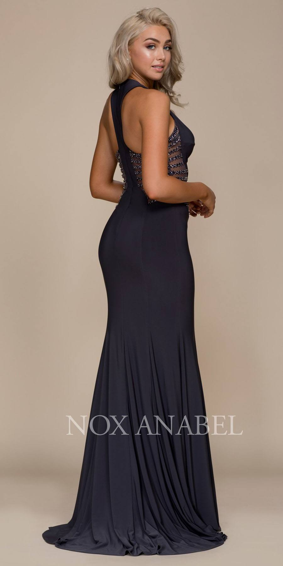 Steel Embellished Long Prom Dress with Side Cut Out – DiscountDressShop